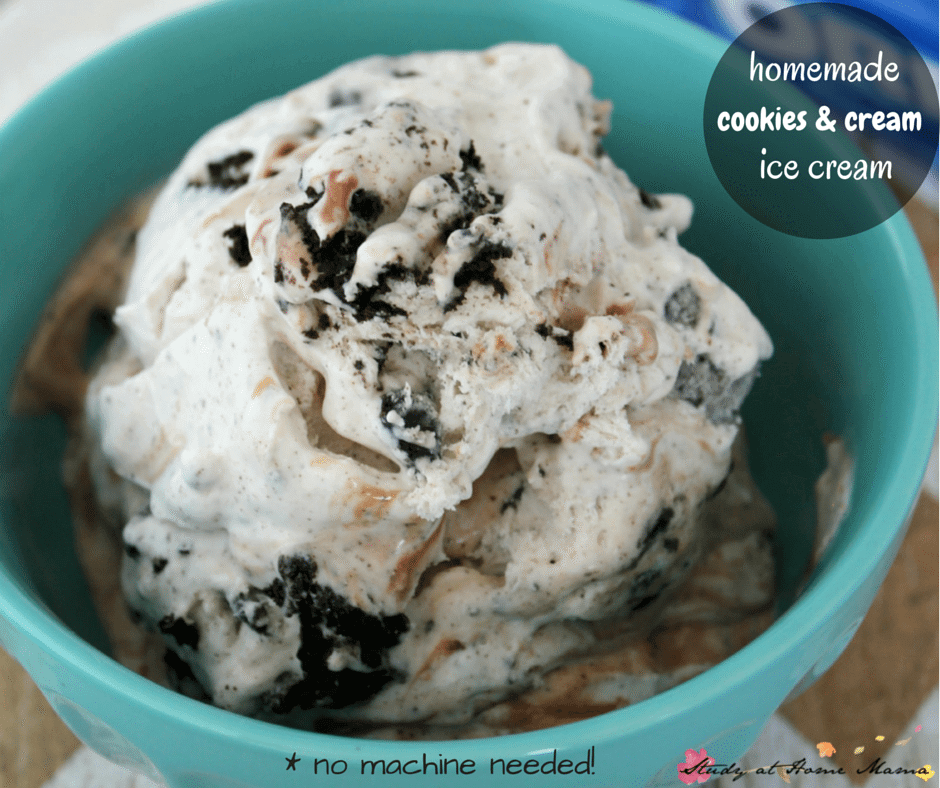 Easy Homemade Ice Cream Recipe for Cookies & Cream, no ice cream machine recipe