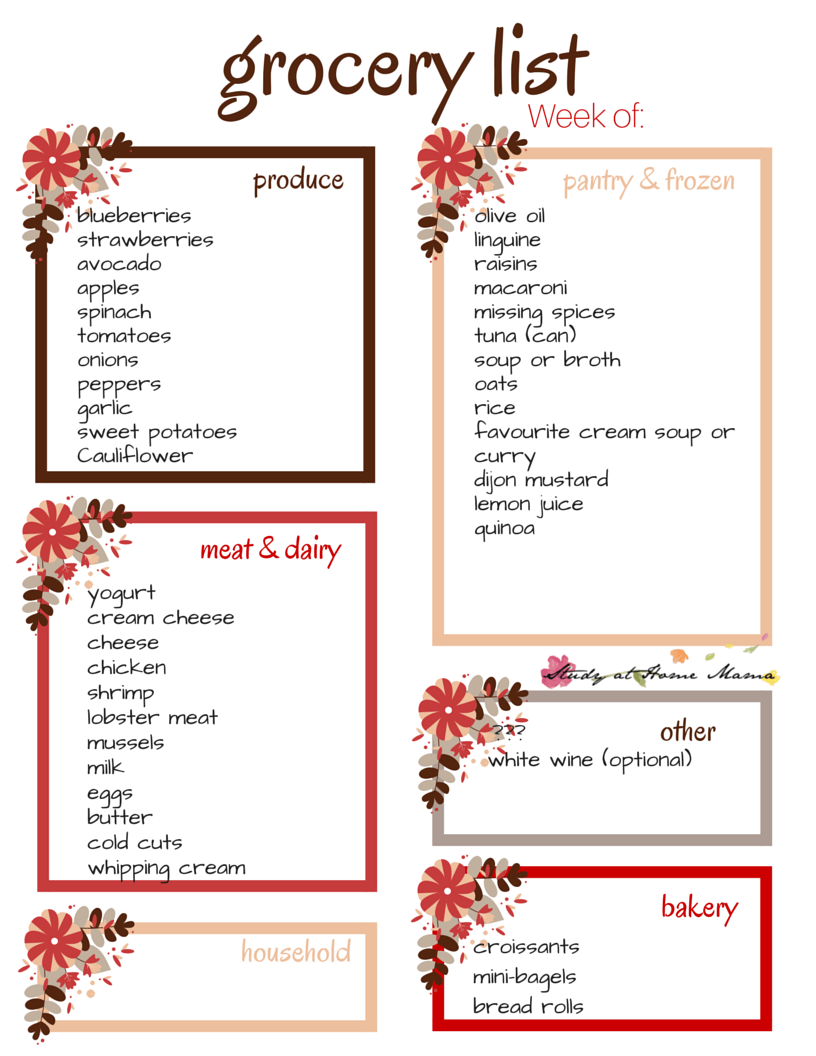 Weekly free printable grocery list - focus on sustainable and affordable seafood this week
