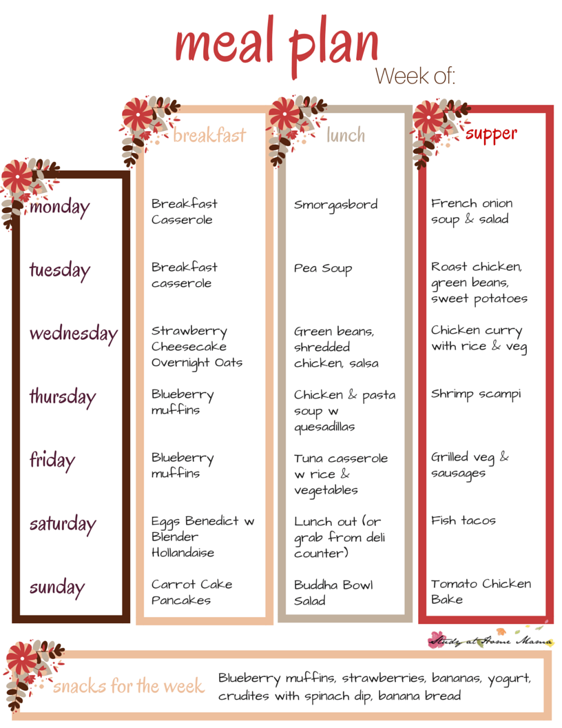 Free Printable Meal Plan - new one available every week on Sugar, Spice and Glitter