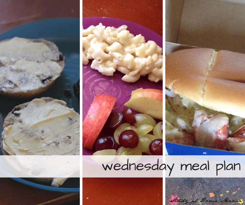 Wednesday meal plan, new 7-day healthy meal plans posted weekly! Mini-bagels, macaroni and cauliflower, and lobster rolls are the main dishes today!
