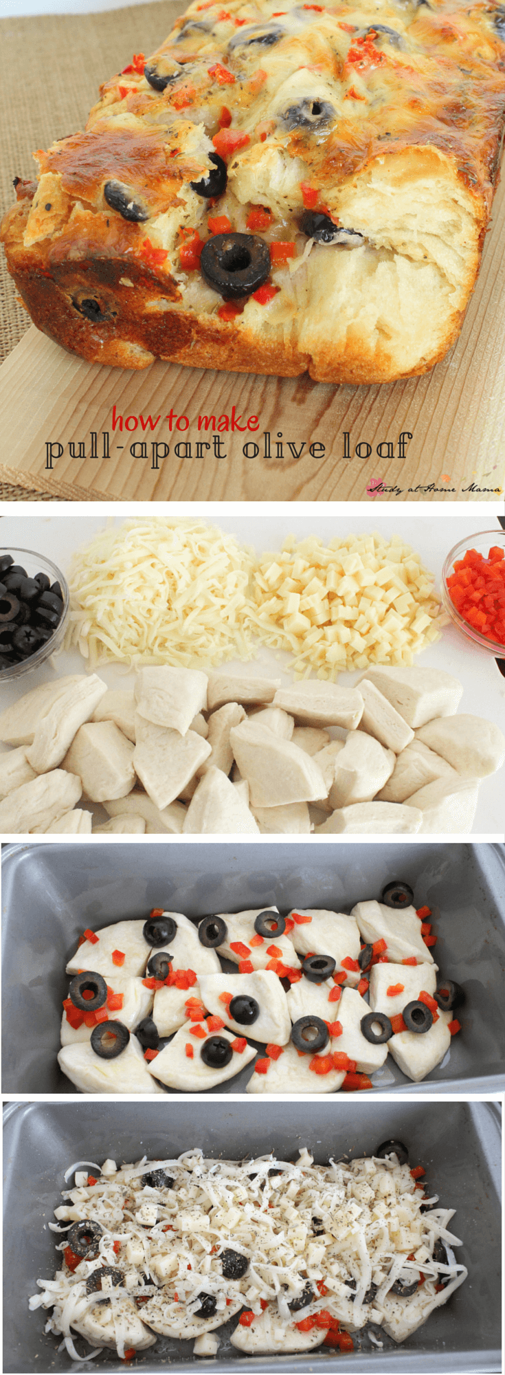 HOW TO MAKE PULL-APART BREAD. Easy Healthy Recipe for Homemade Bread: This Olive Pull-apart Loaf is an quick appetizer your whole family will love!