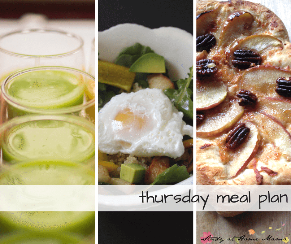 Thursday Healthy Meal Plan - start off with a green smoothie for breakfast, buddha bowl recipe for lunch, and homemade pizza recipe for supper!