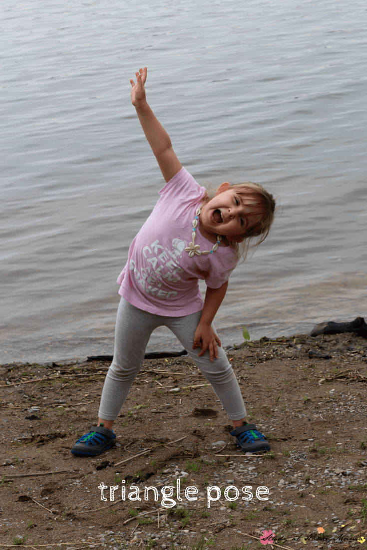 Triangle pose  is a great yoga pose for kids and part of this beach-themed yoga sequence for kids