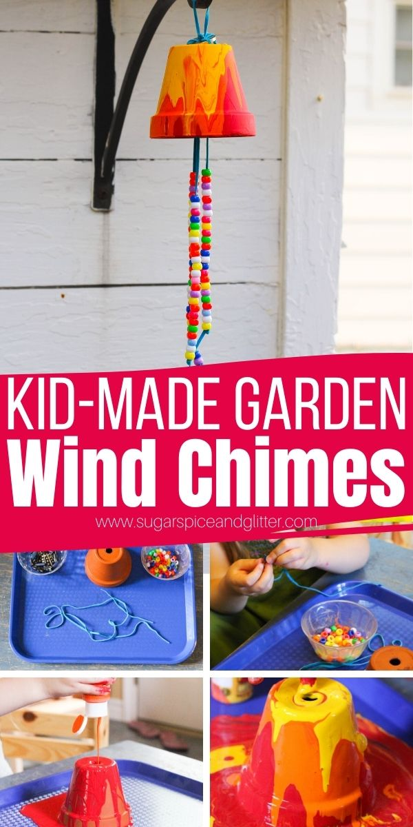 How to make a flower pot wind chime craft for kids - a simple process art activity that makes a great homemade gift add ands some pretty whimsy to your garden