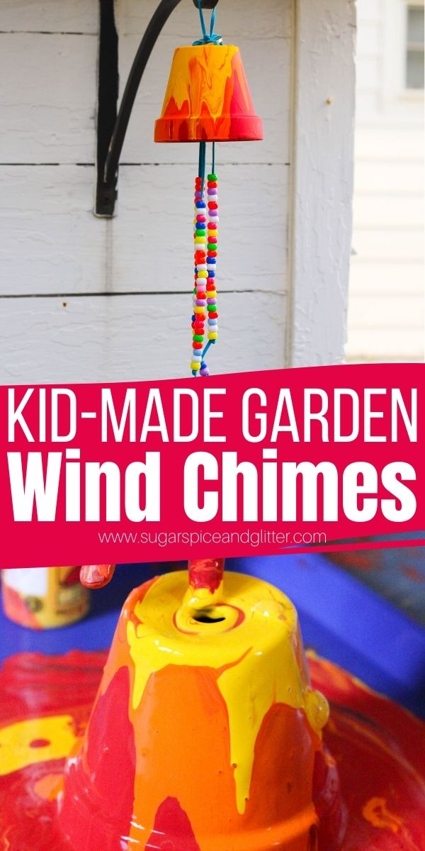 Kids will love making these Pour Pot Garden Wind Chimes! A cute homemade gift that makes a beautiful, whimsical addition to your garden