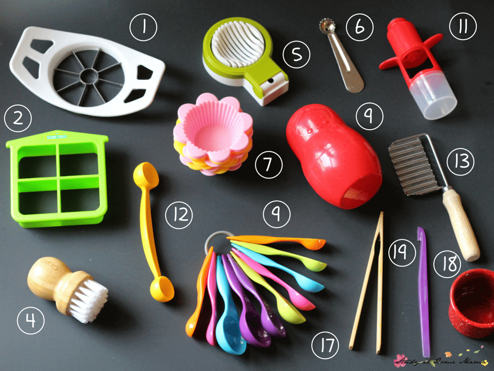 THE BEST KIDS KITCHEN TOOLS FOR HELPING WITH SNACK PREP. This post also includes the best kids kitchen tools for helping with supper and baking - plus a free printable shopping list!