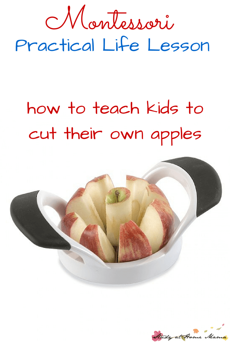 Montessori Practical Life Lesson for Cutting Apples with Kids. Teach children valuable kids kitchen skills with this easy to follow Montessori lesson. A few unexpected tips for success from a Montessori teacher