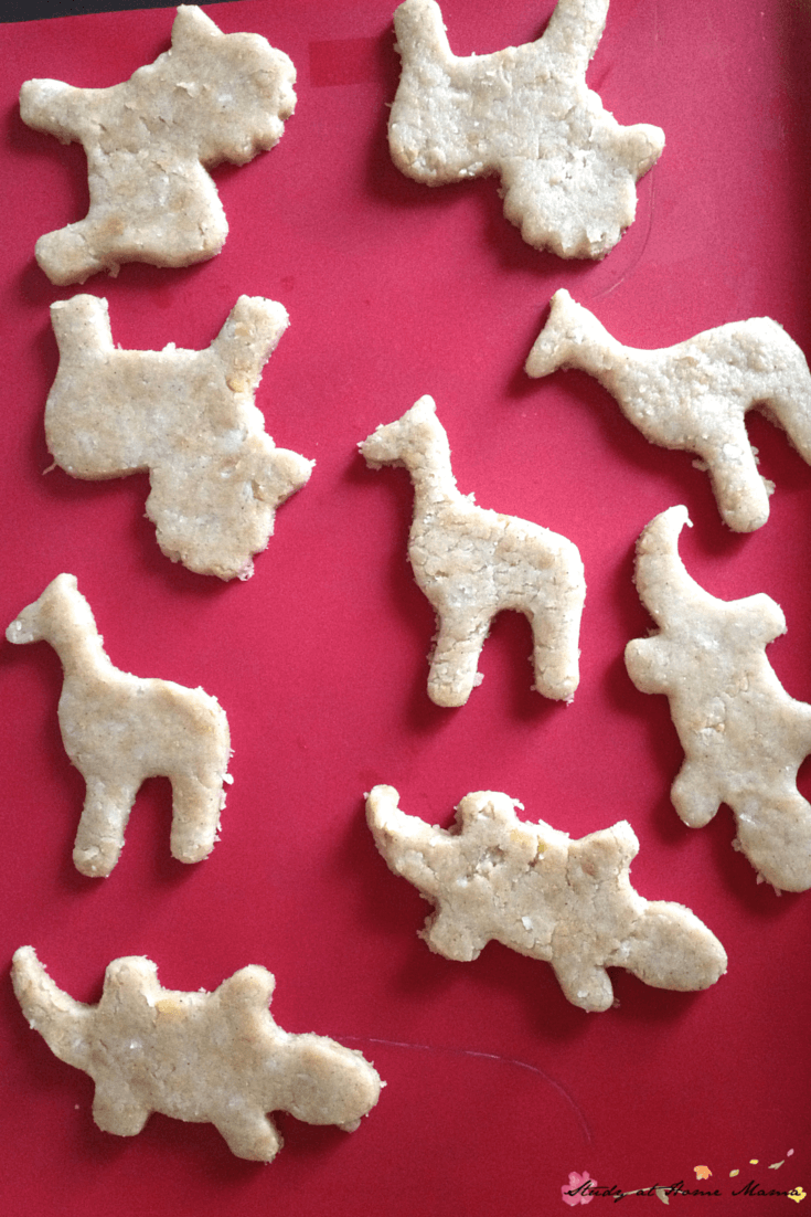 We like to bake our no-sugar animal cookies on silicone baking sheets to cut down on yucky sprays and paper waste