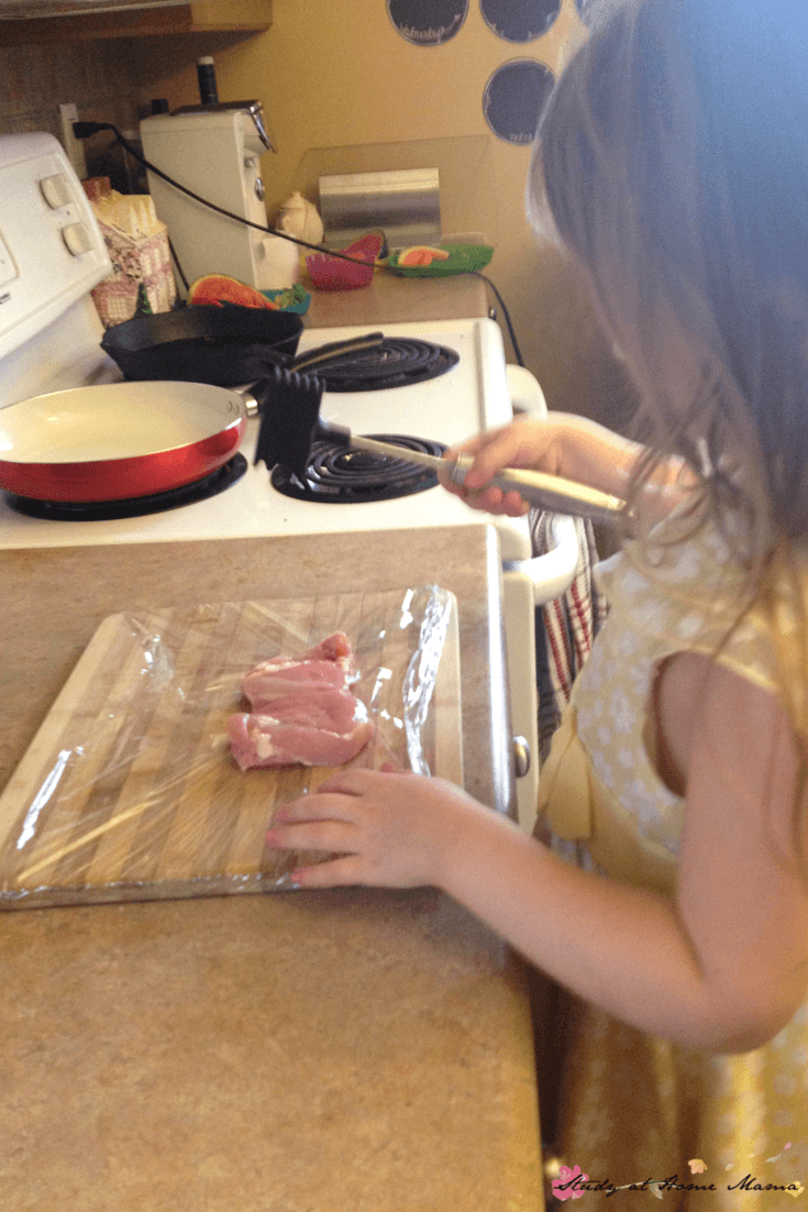 Kids Kitchen: Hammering a chicken is not only fun, it helps tenderize the meat and allows for a quick cooking time