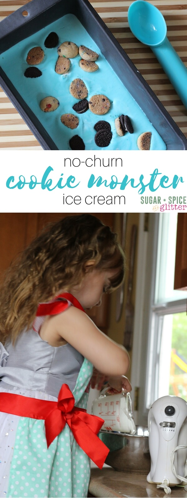 No-churn Cookie Monster Ice Cream, made by kids in the kitchen! Using natural food dyes, this cookie monster ice cream is a fun summer dessert for kids!