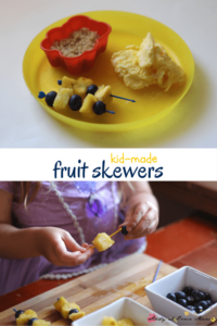 Kid-Made Fruit Skewers - Healthy Minion Snack