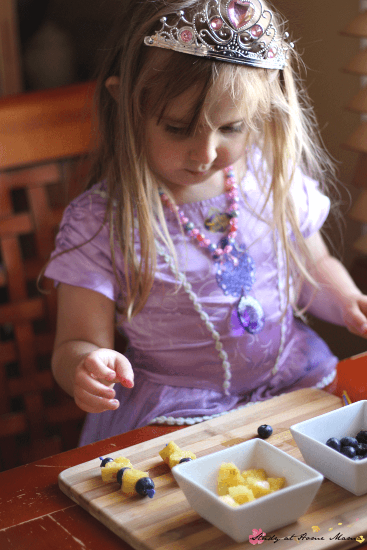 Kids Kitchen: Pineapple and Blueberry fruit kebabs made by kids