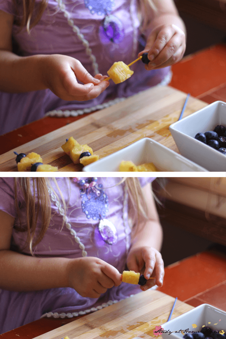 Kids Kitchen: Snack ideas for kids - easy fruit skewers made by kids in the kitchen