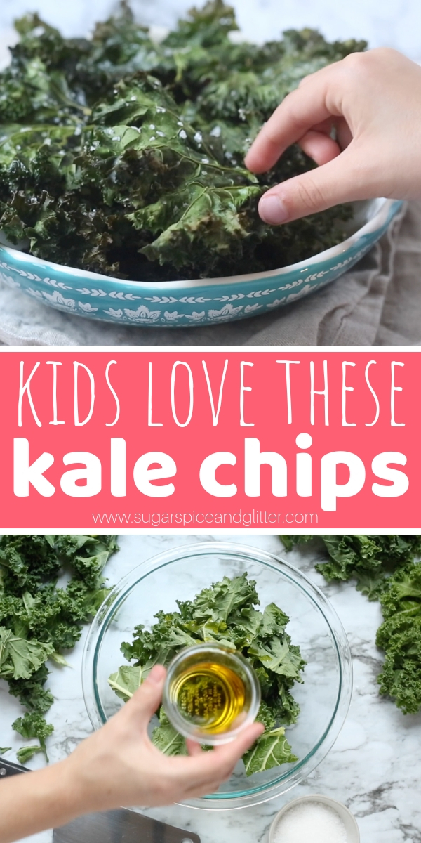 Baked kale chips are one of my favorite snacks and the kids love them, too! Check out our easy method for homemade kale chips kids can help make