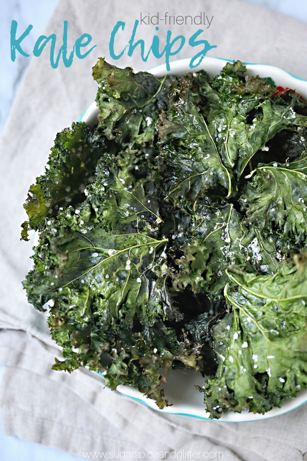 Kids Kitchen: Kale Chips - an easy healthy recipe for a snack that kids will love making as much as they enjoy eating!