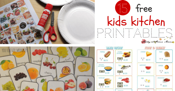 15 FREE Kids Kitchen Printables - to encourage learning about healthy eating and facilitate pretend play! Everything from vocabulary cards to play dough mats!