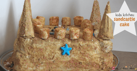 This homemade sand castle cake was a kids kitchen experiment - a 4 year old decorated it herself for a mermaid themed party!