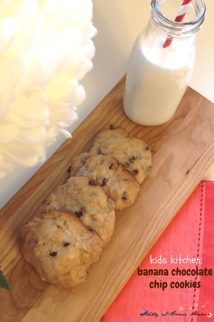 Kids Kitchen: Banana Chocolate Chip Cookies - the perfect soft banana cookie with just a hint of chocolate and cinnamon. Delicious soft cookie recipe