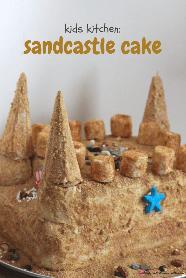 Make your own homemade sandcastle cake - perfect for a beach themed party or mermaid party. This cake is so easy to make, that it was actually a kids kitchen project!
