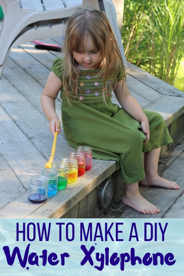 This DIY Rainbow Water Xylophone experiment combines science, math, art and music! It's great for toddlers, preschoolers and elementary-aged kids, and you can make it with materials you already have in the house.