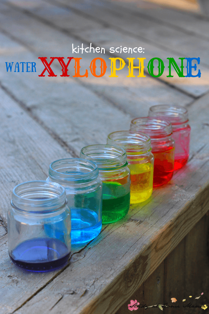 Kids Kitchen Science: Water Xylophone experiment - mixing water and science for a colourful sensory activity for kids!