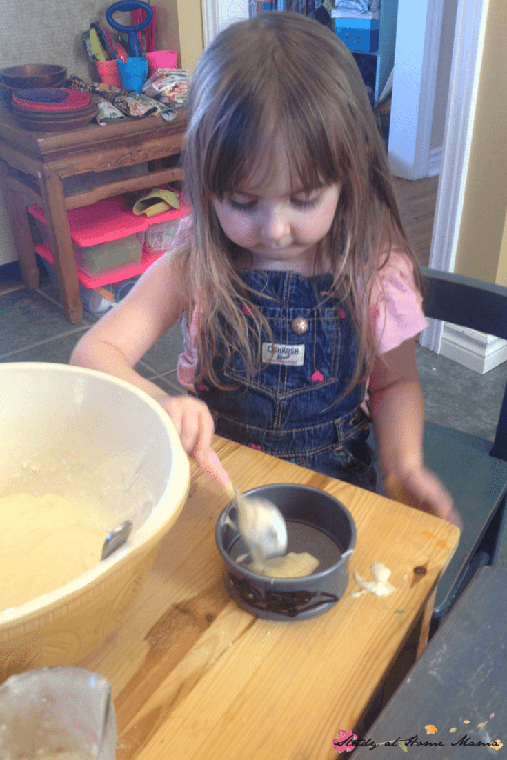 Layering a zebra cake is a great early math activity for little chefs