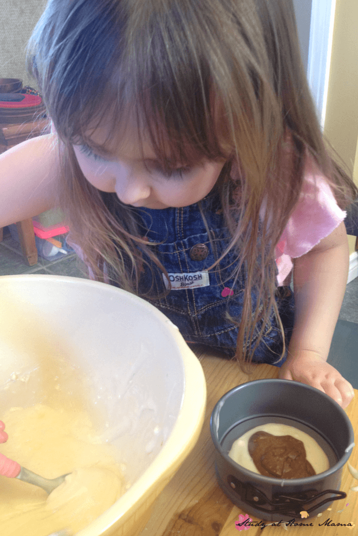 Layering a zebra cake is a great early math skill - and tasty to boot!
