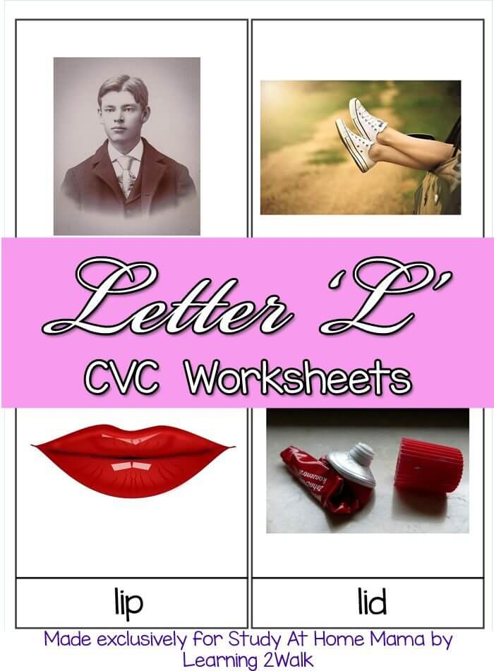 Letter L CVC Worksheets - Free CVC Worksheets to help children learn how to read by introducing CVC words. Check out the whole series of free CVC printables.