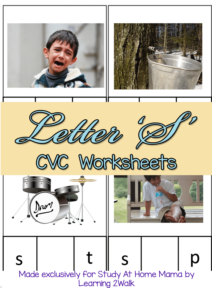 Letter S CVC Worksheets: Free CVC Worksheets following the Montessori Method - 3 part cards with matching and fill in the blank opportunities to teach your child CVC words