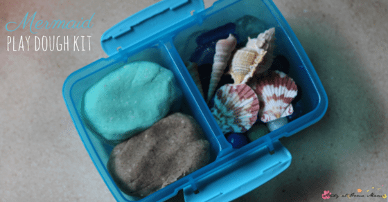 Mermaid Play Dough Kit - a perfect busy bag or party favour for your mermaid fans. Coconut scented play dough and sand play dough along with sea goodies make this a fun sensory activity for kids.