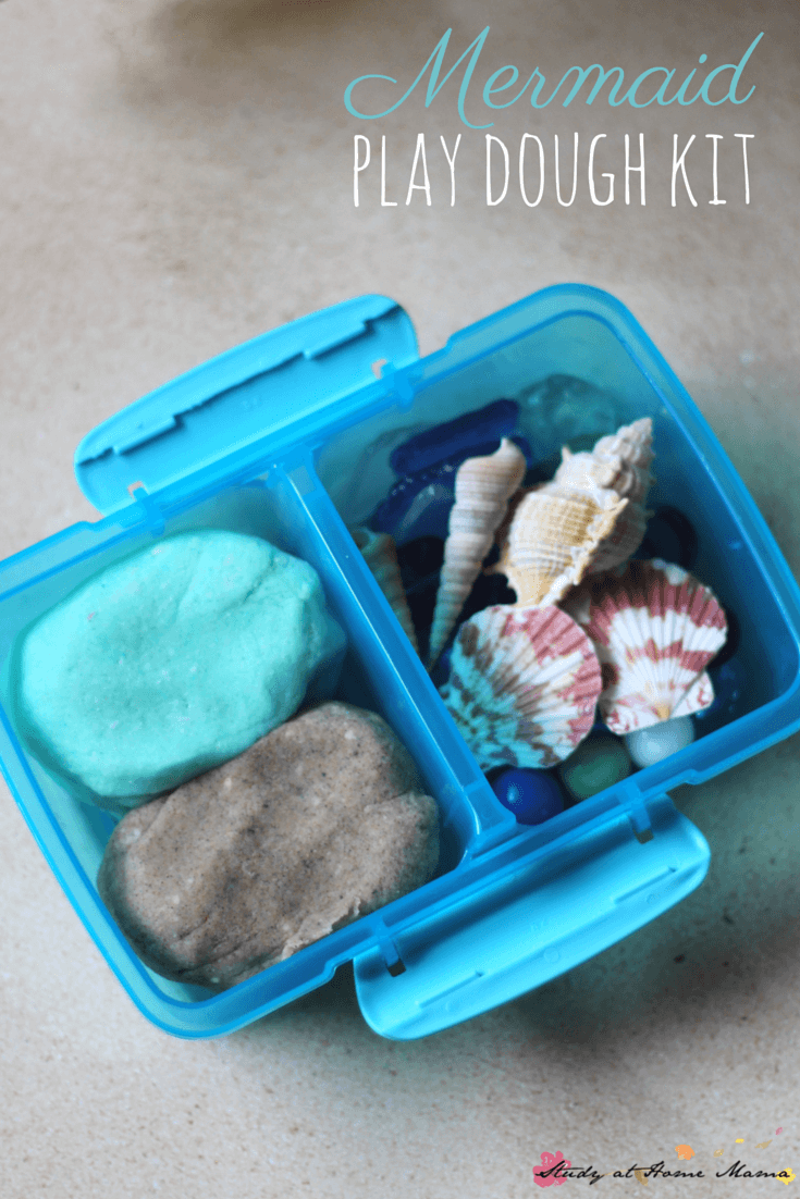 Mermaid Play Dough Kit - a perfect busy bag or party favour for your mermaid fans. Coconut scented play dough and sand play dough along with sea goodies make this a fun sensory activity for kids while encouraging them to practice early math and literacy concepts