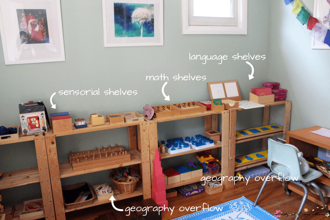 A real life sneak peek into a homeschool family's Montessori room - find out what Montessori in the home really looks like!