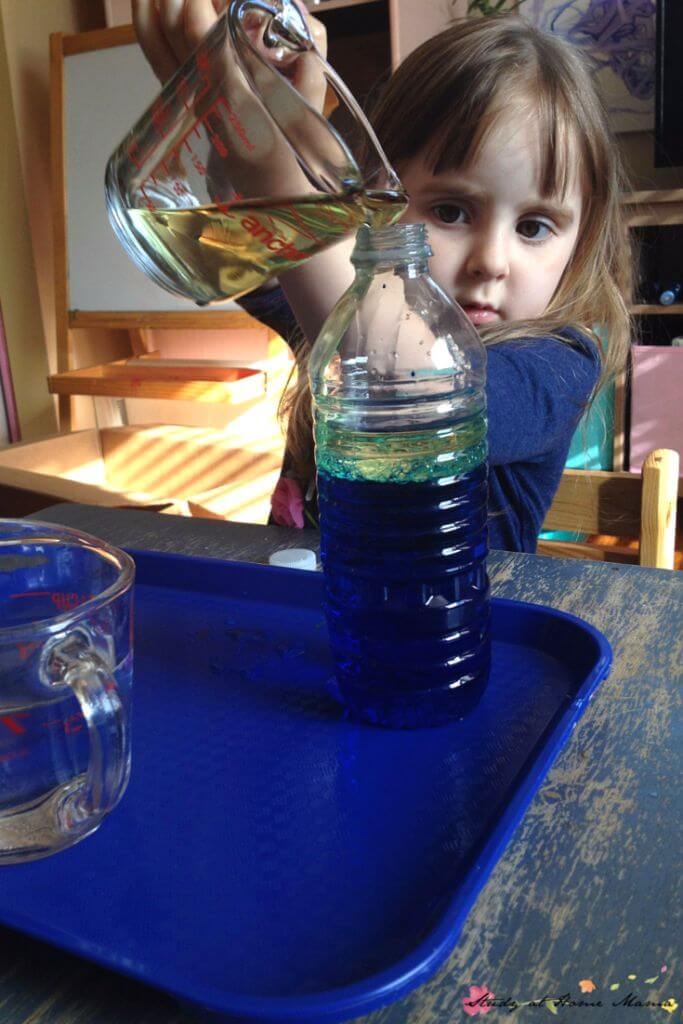 What happens when you mix oil and water together? Make your own science experiment to find out!