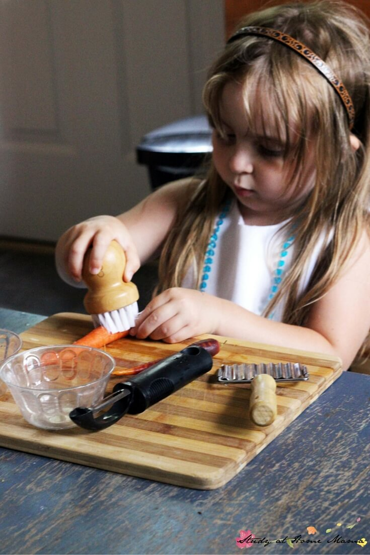 Montessori Practical Life Lesson Cutting Carrots ⋆ Sugar