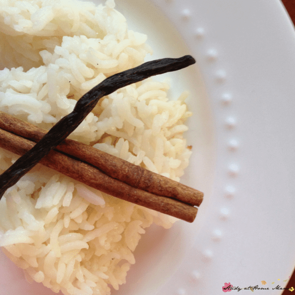 Easy healthy recipe for homemade flavoured rice: naturally flavoured rice with cinnamon vanilla, the perfect easy side dish