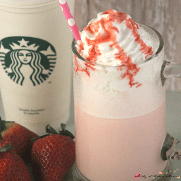 Two versions of this yummy Strawberry Frappuccino recipe - a healthy strawberry Frappuccino & a more indulgence version. Two easy copycat Starbucks recipes