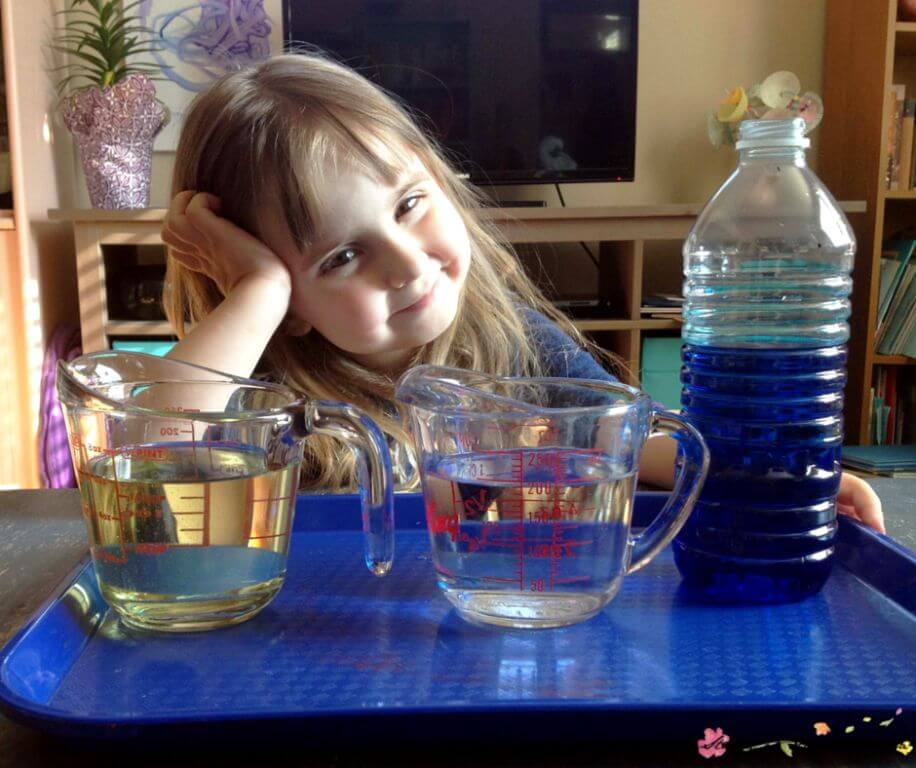 Materials needed for this simple oil and water science experiments for kids