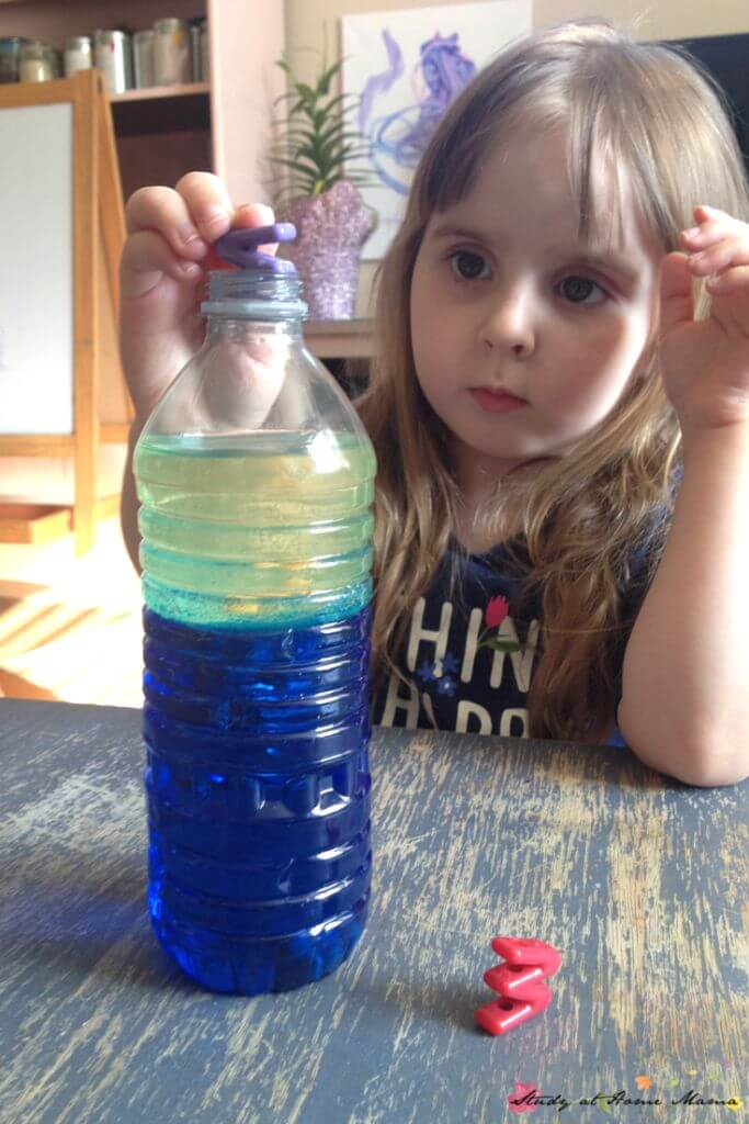 Add some alphabet beads to this simple wave in a bottle science experiment for kids, to add a language component, too!
