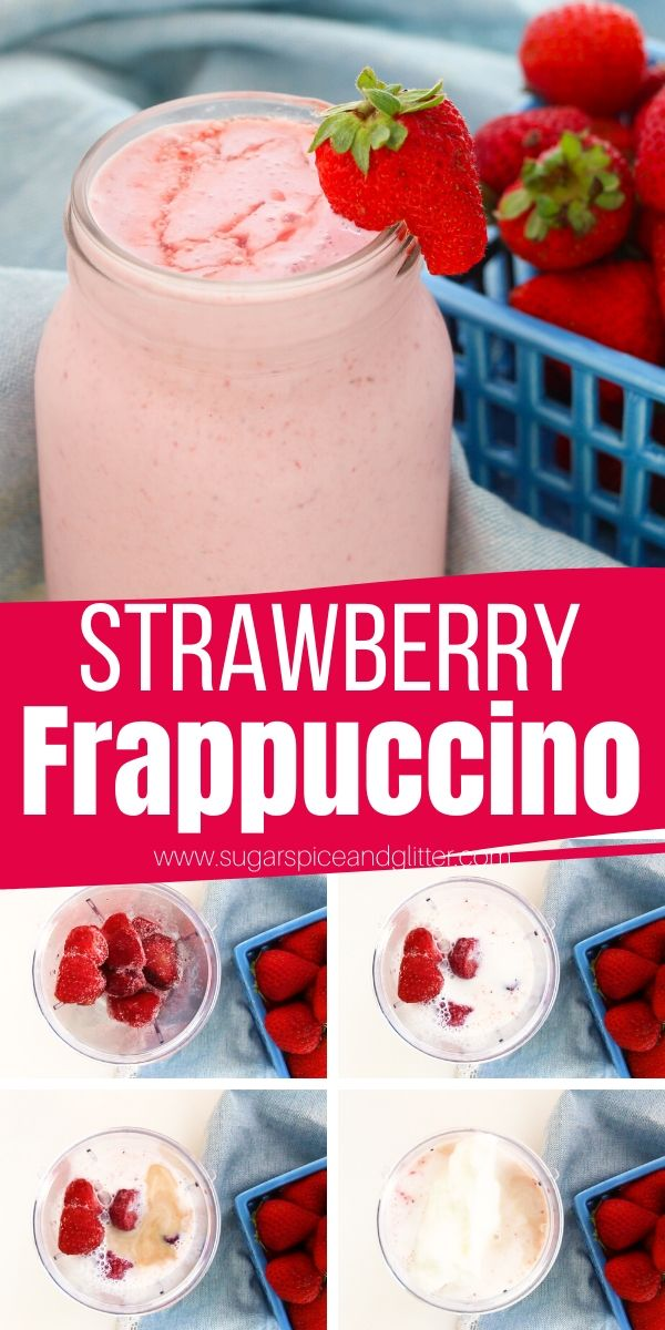This decadent and delicious Strawberry Frappuccino recipe is made with no sugar or artificial flavors. Save calories and money by making this Healthy Strawberry Frappuccino at home!