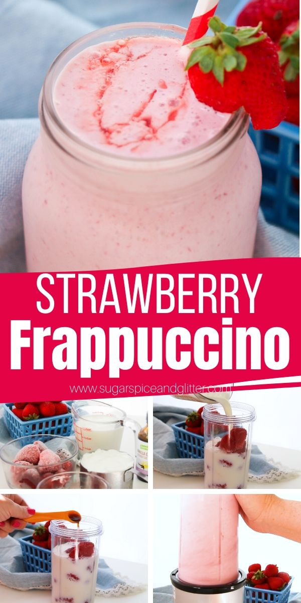 A healthy take on a Starbucks Strawberries and Cream Frappuccino, this Strawberry-Vanilla Frappuccino uses protein-rich greek yogurt, frozen strawberries and no sugar to make a delicious, fruity and icy cold smoothie to treat yourself with