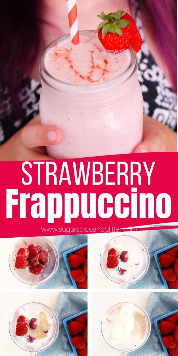 How to make a Starbucks Strawberry Frappuccino at home with no sugary syrups or artificial flavors. Just vibrant fruity flavors in this icy cold pink drink!