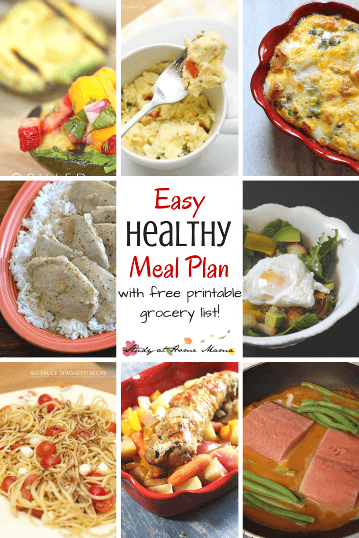 7-Day Healthy Meal Plan - Easy Healthy Meals that will keep your family happy and healthy all week long. Includes a crockpot meal, plan-overs, and a good amount of affordable protein and produce