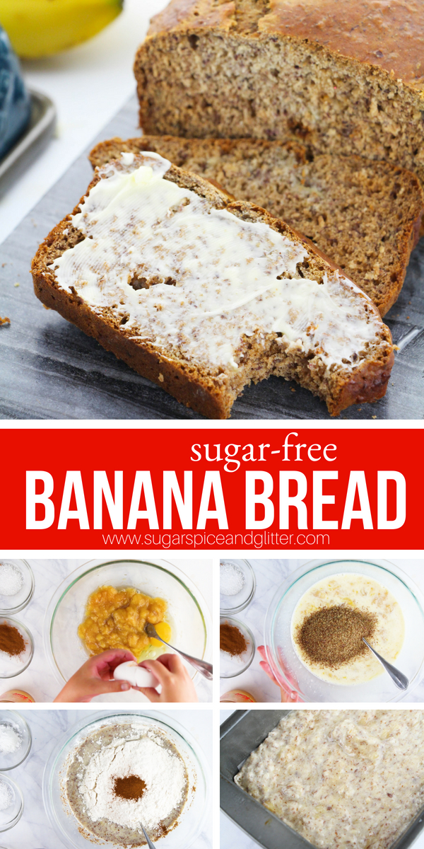 Sugar-free Banana Bread made with flax meal, overripe bananas and honey. This healthy snack is a great way to sneak protein and fibre into your breakfast
