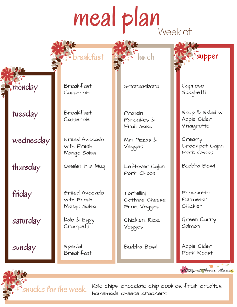 Free Printable Meal Plan - don't forget to grab your free printable grocery shopping list, too!