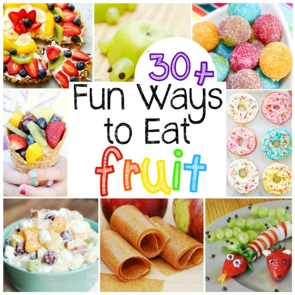 30 amazing and fun ways to get kids excited to eat fruit. Rainbow fruit, fruit pizzas, and homemade fruit roll-ups are just three of the ideas listed here