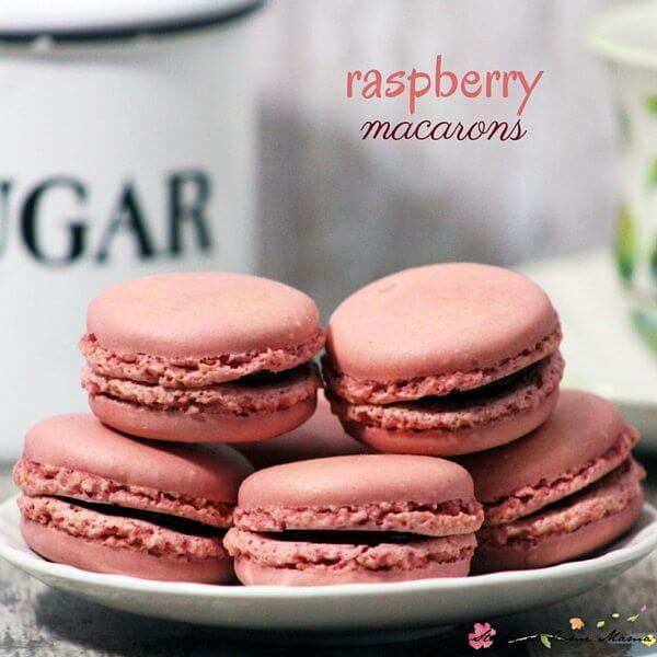 Simple and easy homemade macaron recipe - these raspberry macaron cookies are naturally flavored and coloured, unlike most recipes which use artificial colors and flavorings