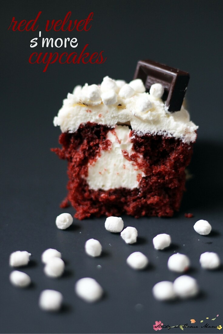 Red Velvet S'more Cupcakes - the perfect cupcake recipe when you want something a little bit different. These cupcakes are dye-free, moist, and chocolatey, with a  marshmallow-cream cheese frosting. To die for.