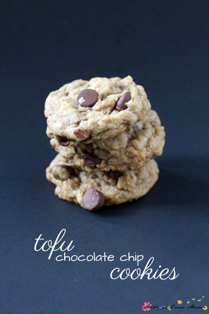 Tofu chocolate chip cookies - a delicious vegan cookie perfect for kids or discerning guests. Packed with protein, these vegan chocolate chip cookies taste like the real deal!