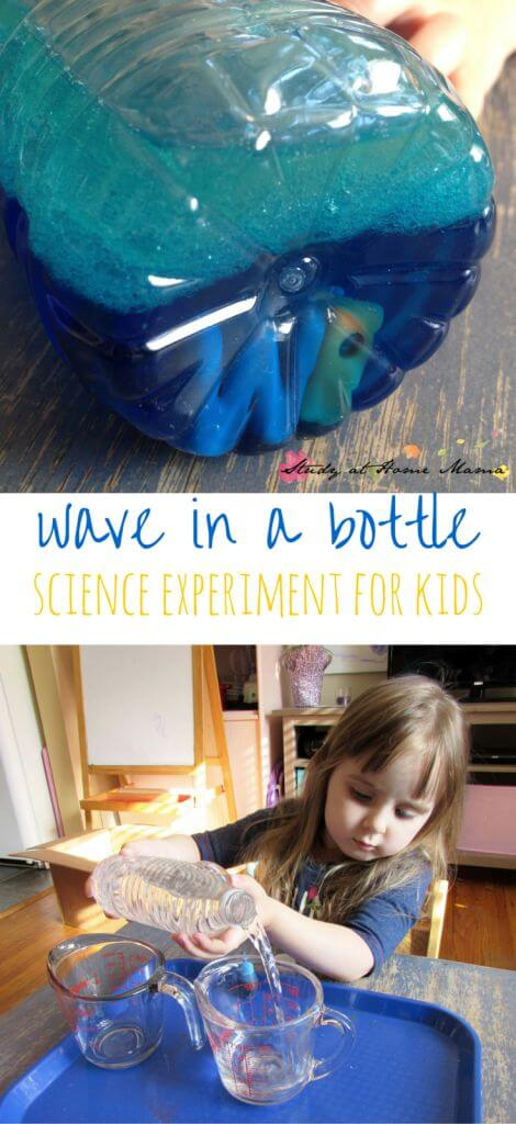 Wave in a Bottle: Science Experiment for Kids exploring how oil and water react when mixed, and how that relates to the scientific method. Doubles as a great language activity, too!