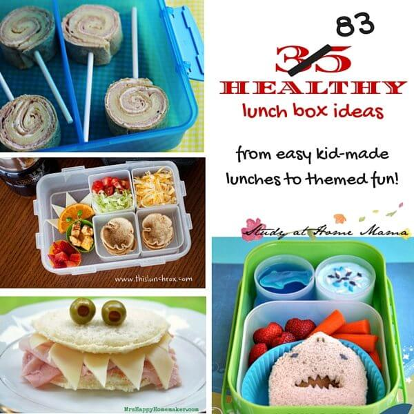 35 (83) Healthy Lunch Box ideas for kids - from easy ideas kids can make independently, to themed fun on those special days you want to give them a little surprise!